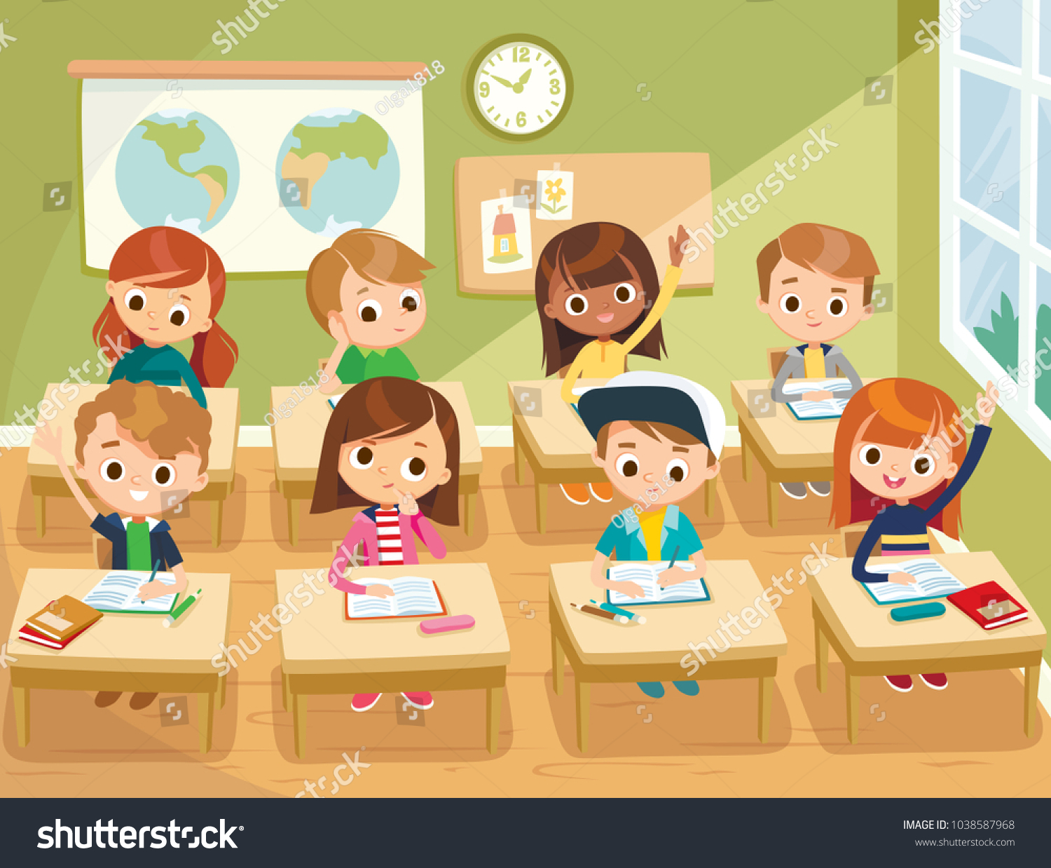 Pupils In The Classroom Clipart.