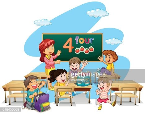 Teacher teaching students in classroom Clipart Image.