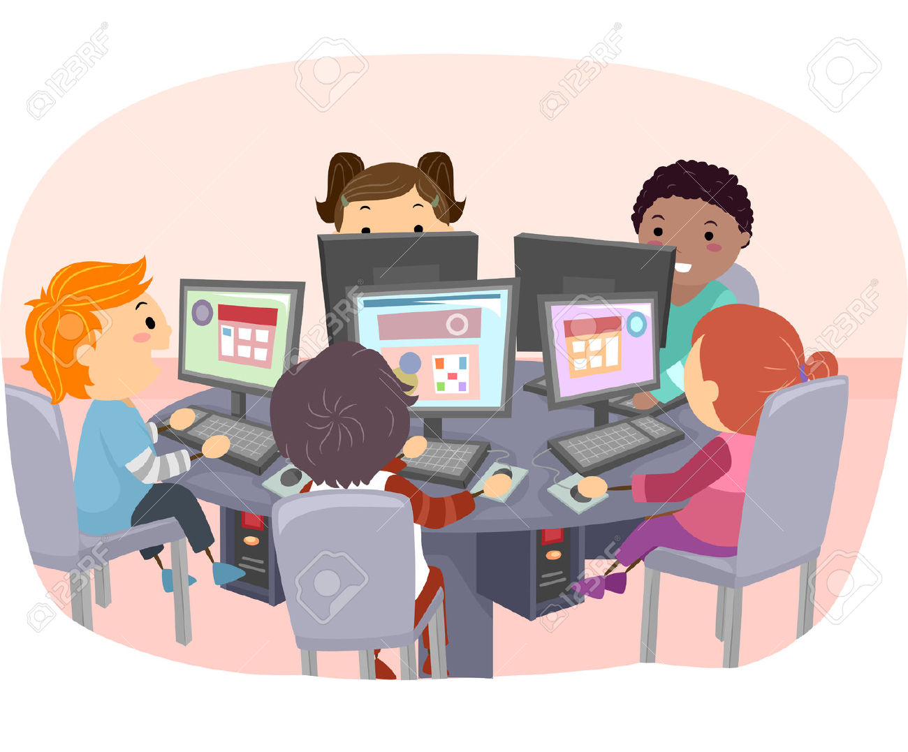 Students Using Computers Clipart.