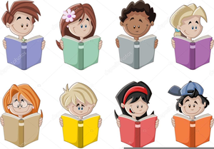 Students Reading Books Clipart.