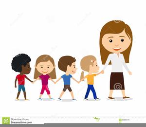 Children Walking In Line Clipart.