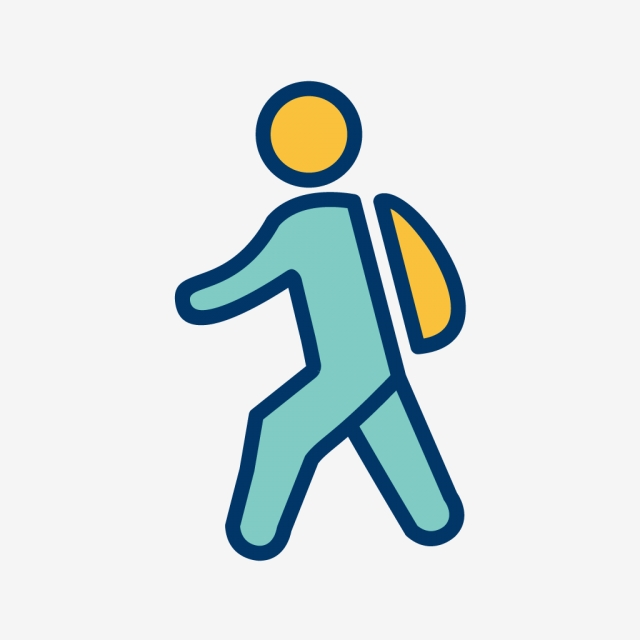 Vector Walking To School Icon, Education, School, Student.