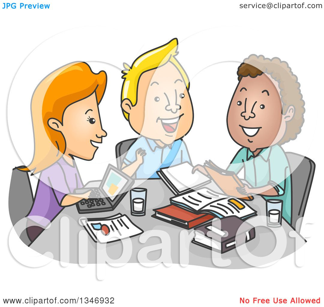 Clipart of a Cartoon Group of College Students Studying at a Table.