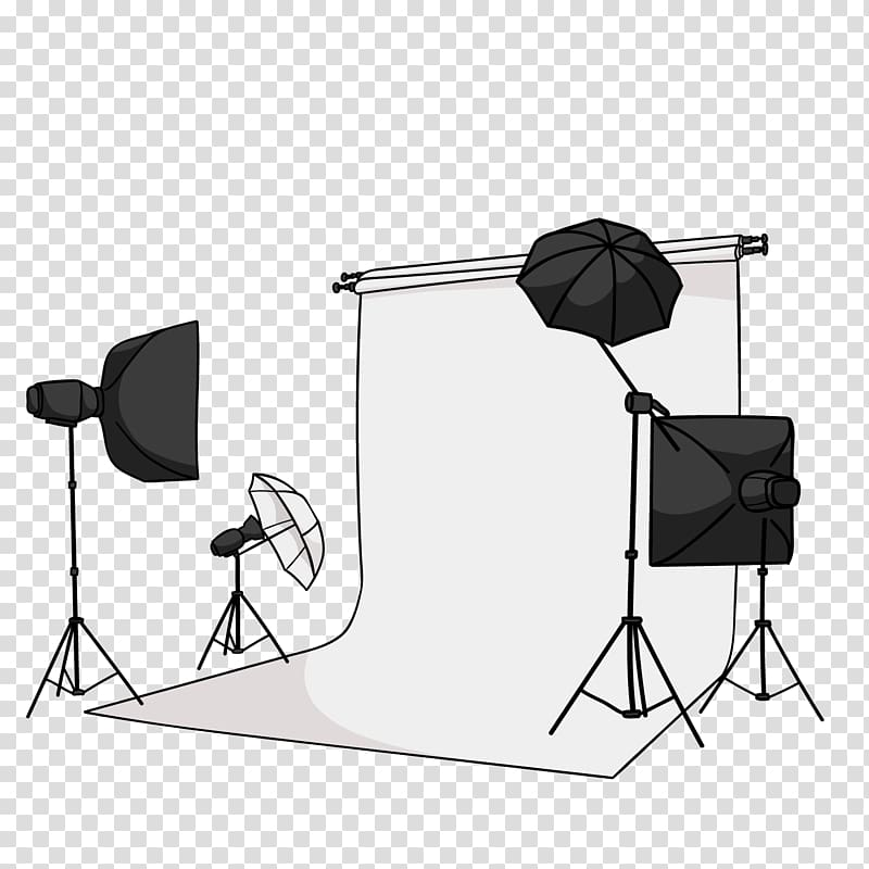 Studio light set, graphic studio, camera equipment.