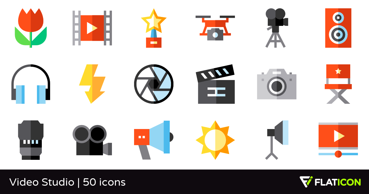Video Studio 50 free icons (SVG, EPS, PSD, PNG files).