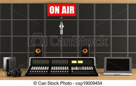 Stock Illustrations of Professionalaudio mixer in a recording.