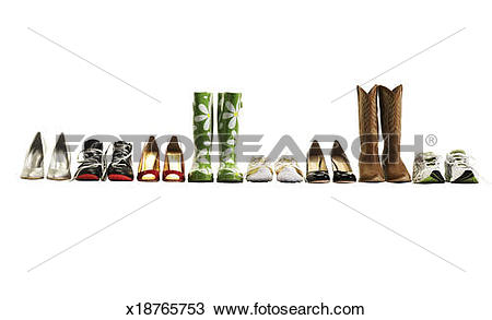 Stock Photo of Various shoes in a row, studio shot x18765753.