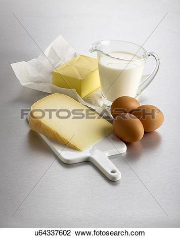 Clip Art of Dairy foods, studio shot. u64337602.