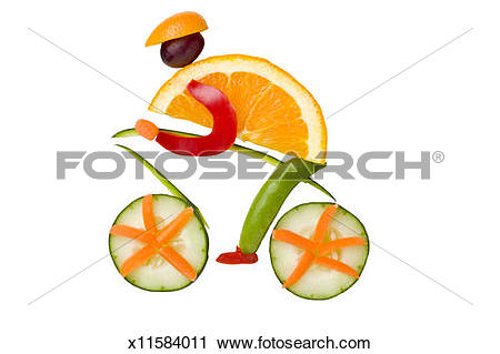 Stock Photography of Bike rider arranged out of fruit and.