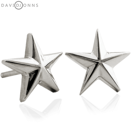 Star Stud Earrings In Sterling Silver.