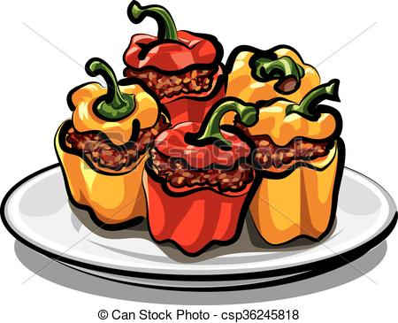 Stuffed peppers Illustrations and Clipart. 192 Stuffed peppers.