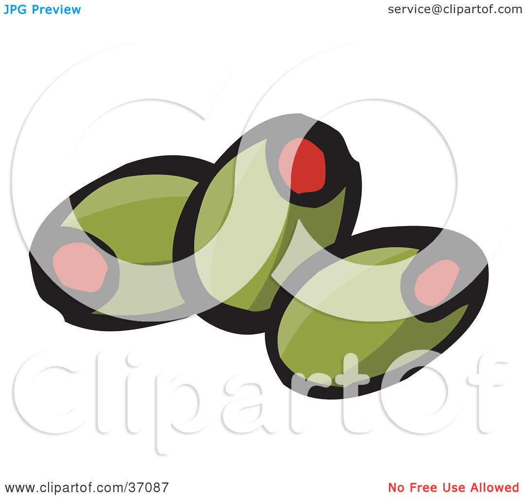 Clipart Illustration of Three Pimento Stuffed Green Olives by.