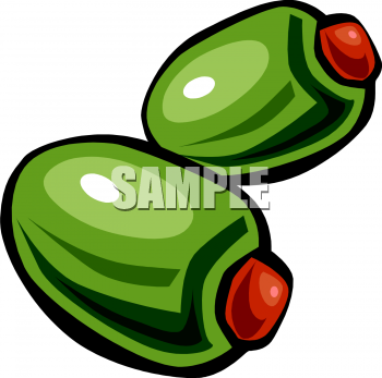 Two Green Olives Clipart Image.