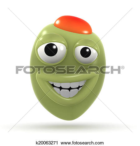 Clipart of 3d Happy stuffed olive k20063271.
