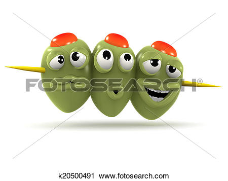 Clipart of 3d Stuffed olives on a cocktail stick k20500491.