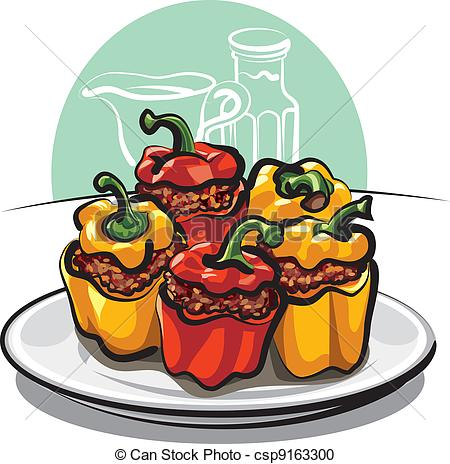 Vector Clipart of Stuffed peppers csp9163300.