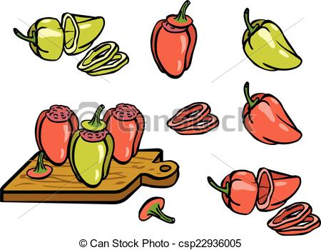 Vector Clipart of Set color simple sketch red and green peppers.