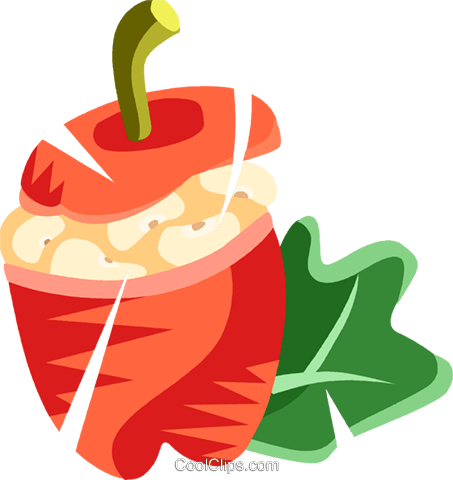 Stuffed peppers Royalty Free Vector Clip Art illustration.