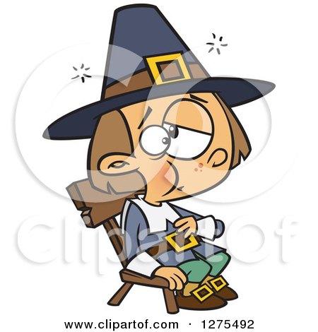 Cartoon Clipart of a Caucasian Thanksgiving Pilgrim Man Turkey.