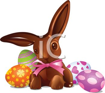 Picture of a Stuffed Rabbit and Colored Easter Eggs In a Vector.