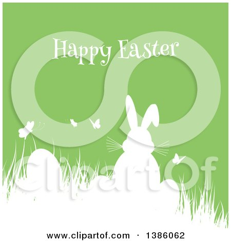 Clipart of a 3d Rear View of a Gray Bunny Rabbit with Easter Eggs.