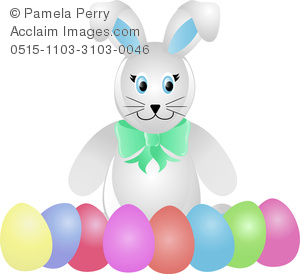 Clip Art Image of a Stuffed Bunny Rabbit With Dyed Easter Eggs.