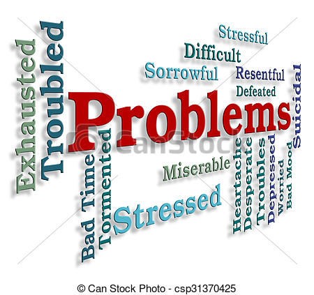 Clip Art of Problems Word Indicates Stumbling Block And Dilemma.