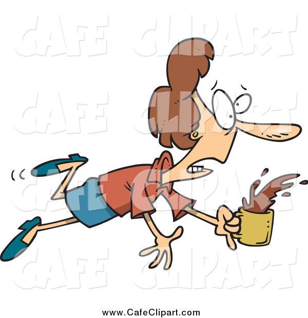Vector Cartoon Clip Art of a Stumbling White Businesswoman.