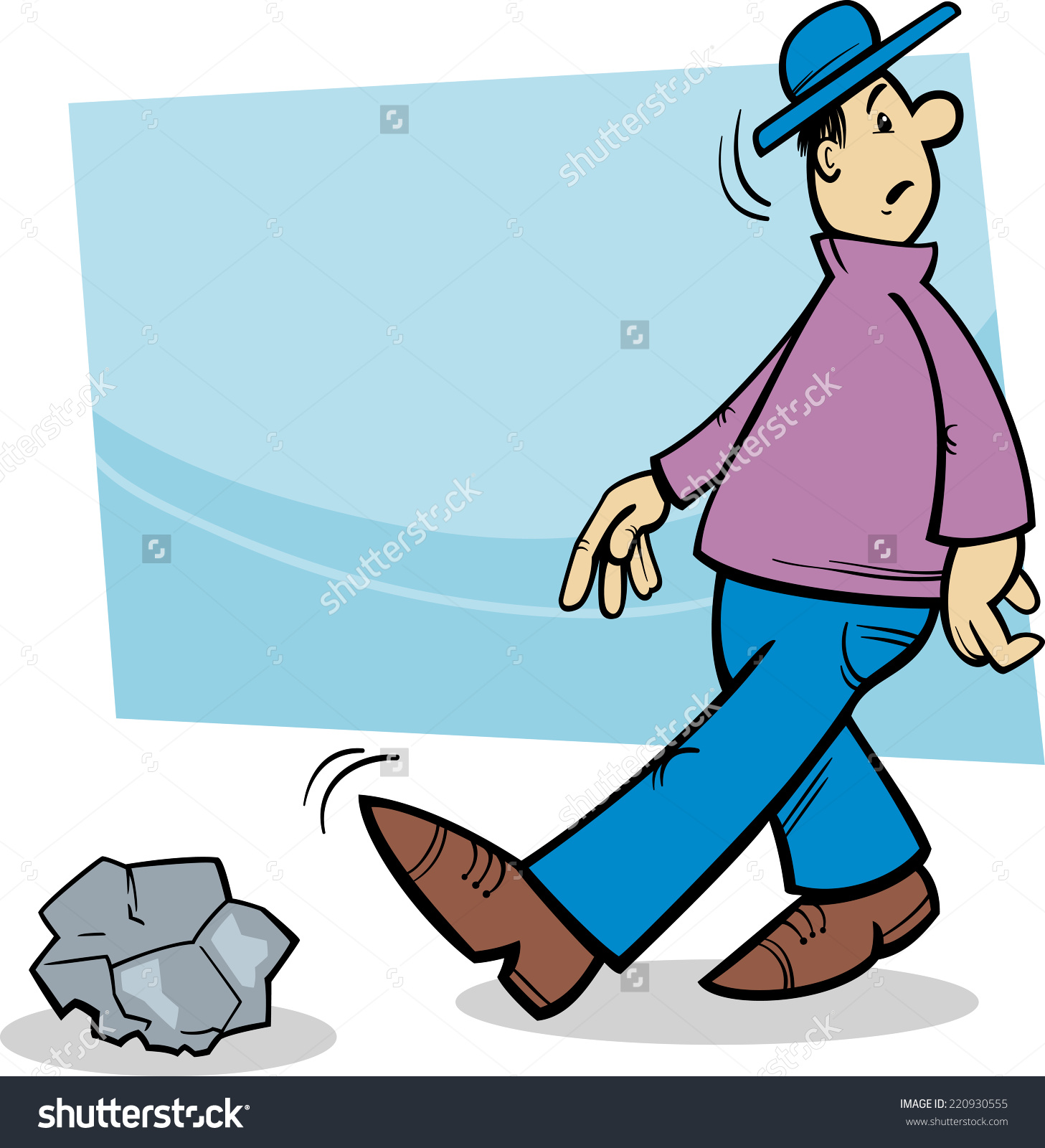 Cartoon Illustration Of Funny Inattentive Man Going To Stumble On.