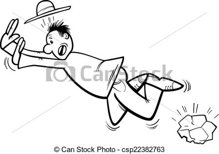 Clip Art Vector of stumbling man coloring page.