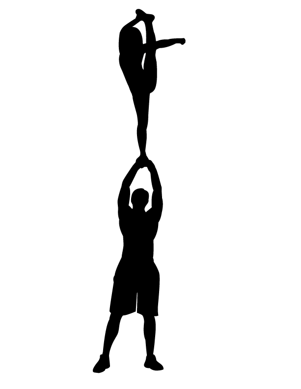 Cheerleading Stunt Silhouette Clipart.