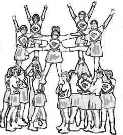 Cheerleading stunts clipart color.