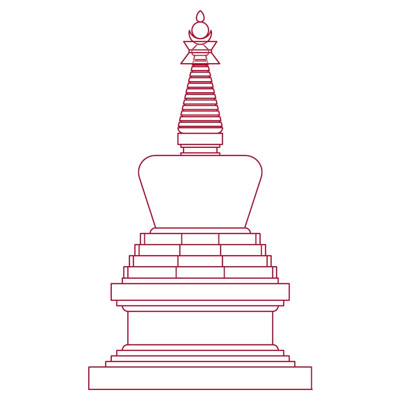 8 Stupas in Karma Berchen Ling.