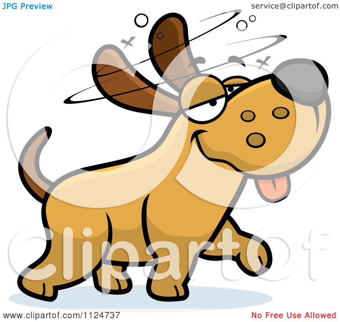 Cartoon Of A Stupid Or Drunk Dog.