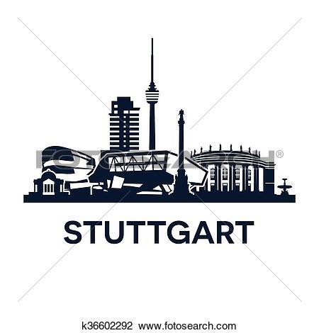 Clipart of Stuttgart Skyline Emblem k36602292.
