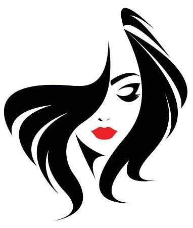 long hair style icon, logo women face Clipart Image.