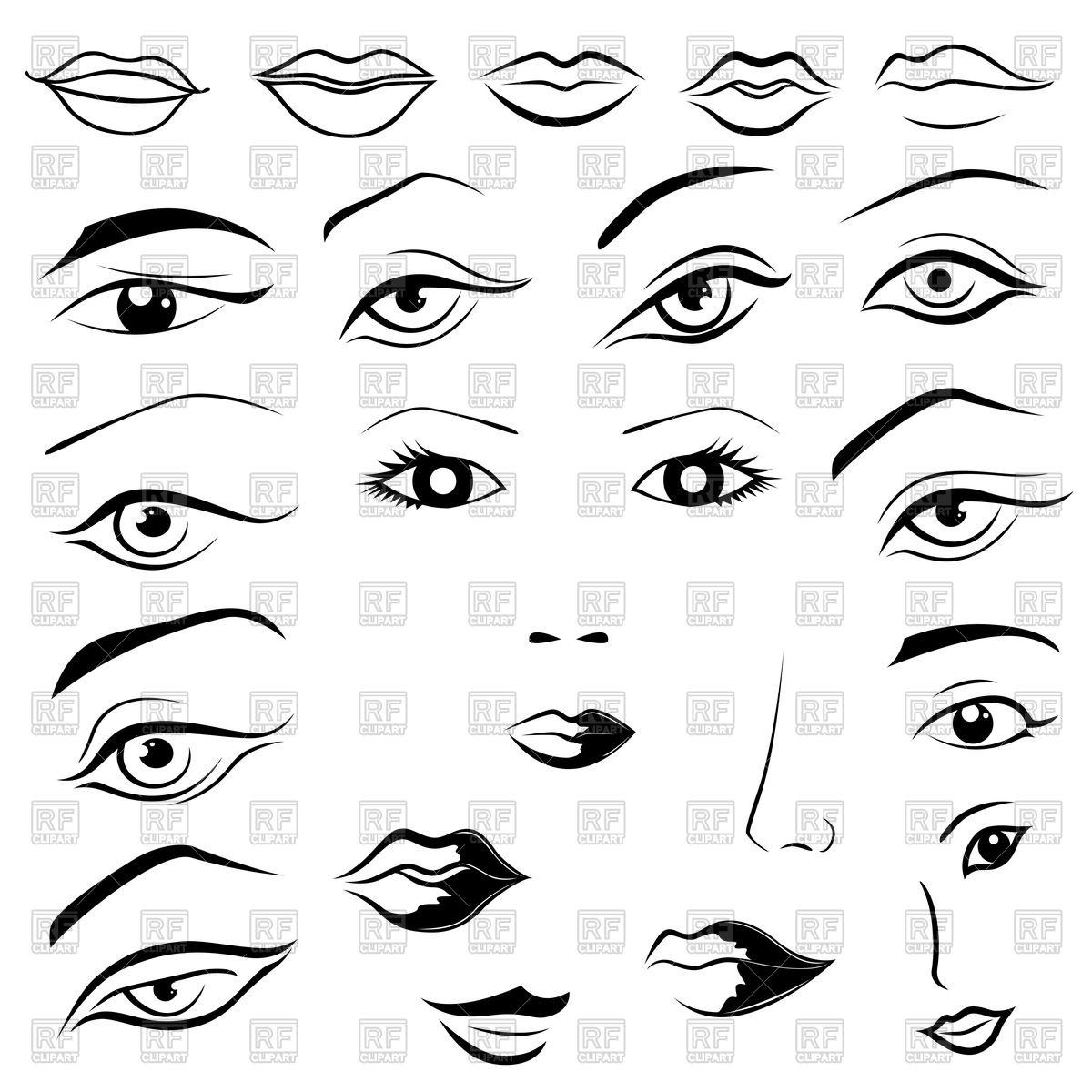 Woman's face parts.
