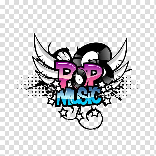 Stylish music logo transparent background PNG clipart.
