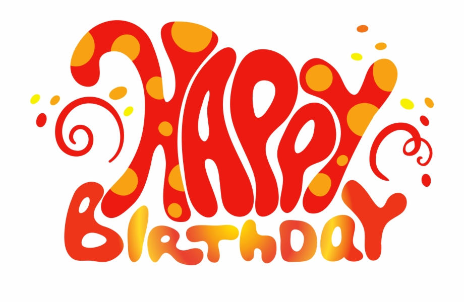 Red Cute Happy Birthday Text Png Clipart Happy.