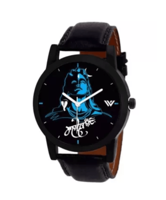 3D Lord Shiva Mahadev Stylish Watch for Men & Boys (Black).