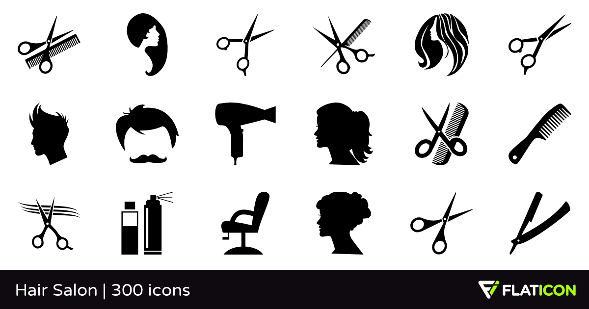 Hair Salon 300 free icons (SVG, EPS, PSD, PNG files).
