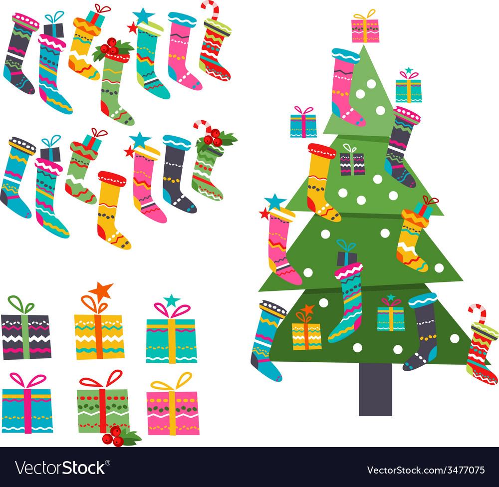 Stylized Santa socks gifts and Christmas tree on.