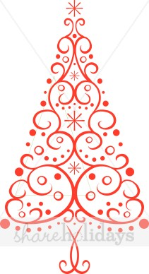 Red Christmas Tree Clipart.