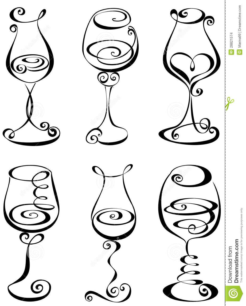 Clip Art Black And White Wine Clipart.