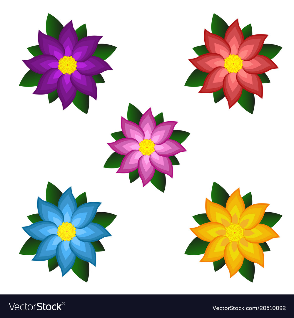 Templates of bright colored stylized flowers.