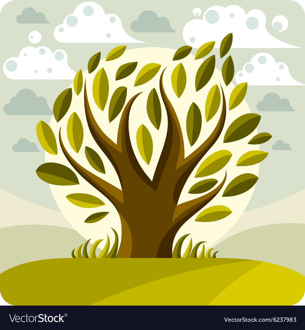 Art graphic of stylized tree and peaceful la.
