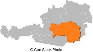 Vectors of Map of Austria, Styria highlighted.