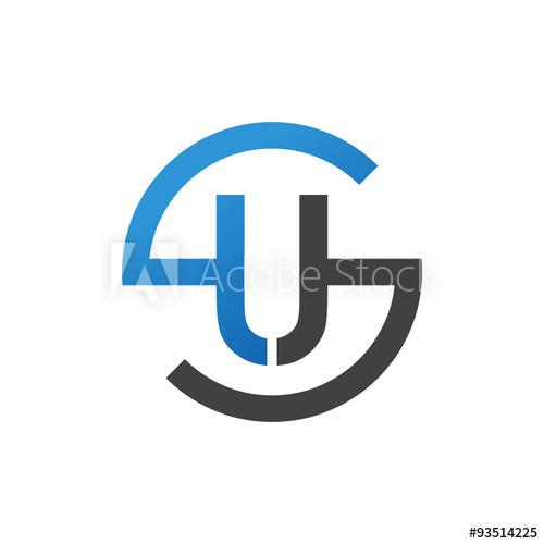 US or SU letters, blue circle S logo shape.