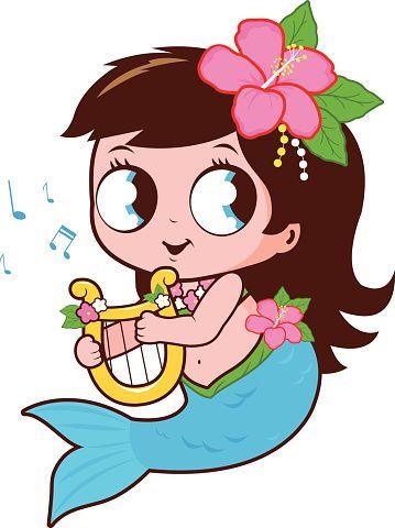 sereia bonito tocar música com sua lira.