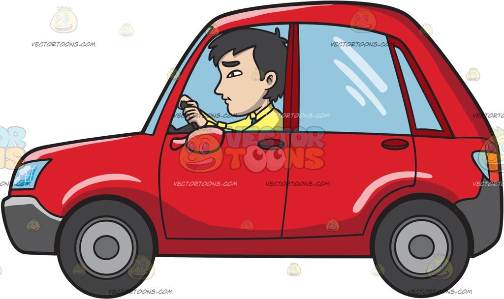 An Asian Man Driving A Subcompact Red Hatchback Car Cartoon Clipart.